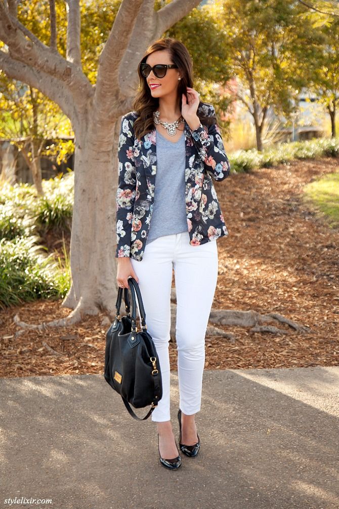 1 Floral Blazer White Jeans grey Tee Statement necklace Prada Sunglasses Marc by Marc Jacobs Handbag Trends 2013 Fashion Style