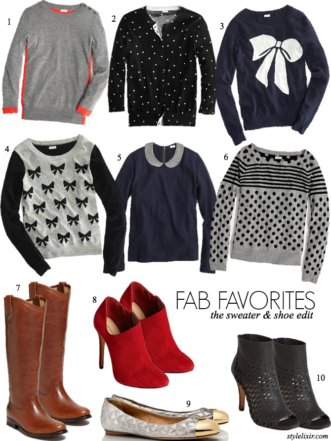 FAB Favorites The Sweater Shoe Edit Polka Dots Stripes Grey Bows Color Block Trends Winter Fall Fashion Style Blog Style Elixir Tall Tan Riding Boots Black Cutout Booties Red Tory Burch Sole Society Frye JCrew Sparkle Peter Pan Collar