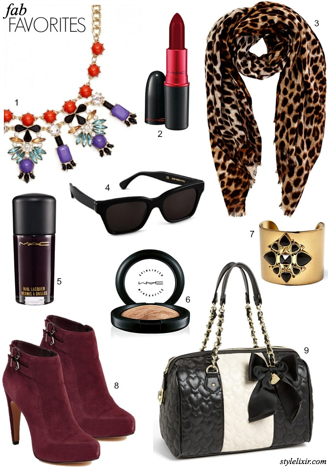 Shopbop Sunglasses statement Necklace MAC Lipstick Leopard Scarf Nail Polish Highlighter cuff Nicole Richie House of Harlow Wine Booties Nordstrom Betsey Johnson Trend Fashion Style 2013 Style Elixir Blog Lifestyle www.stylelixir.com