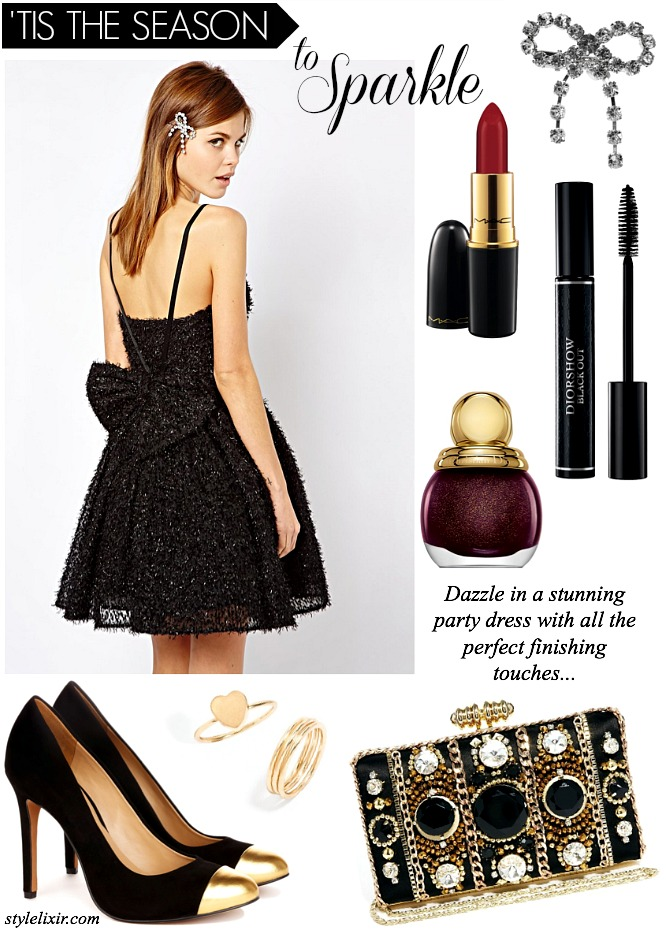 Christmas Holiday PArty Season Dress Sparkle French Connection Bow Dior MAC ASOS Black Heels Gold Caps Nail Polish Lipstick Red Mascara Sequin Dress Style Elixir www.stylelixir.com