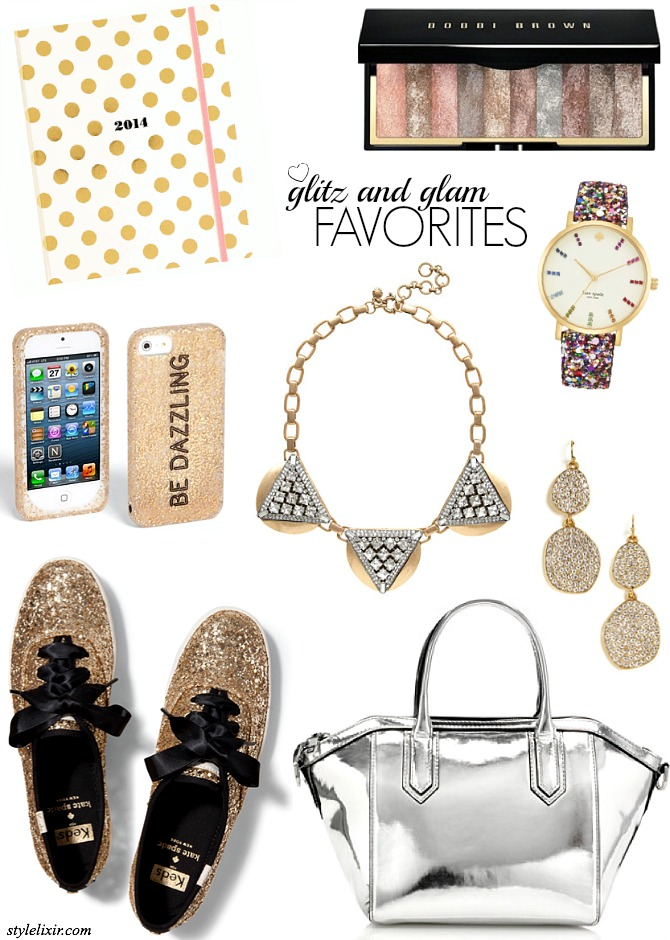 FFF Glitz and Glam Kate Spade 2014 Agenda Keds Gold Glitter Shoes Be Dazzline iPhone Cover J Crew metallic handbag Bauble Bar earrings Bobbi Brown Eye Shadow Fashion Style Elixir www.stylelixir.com