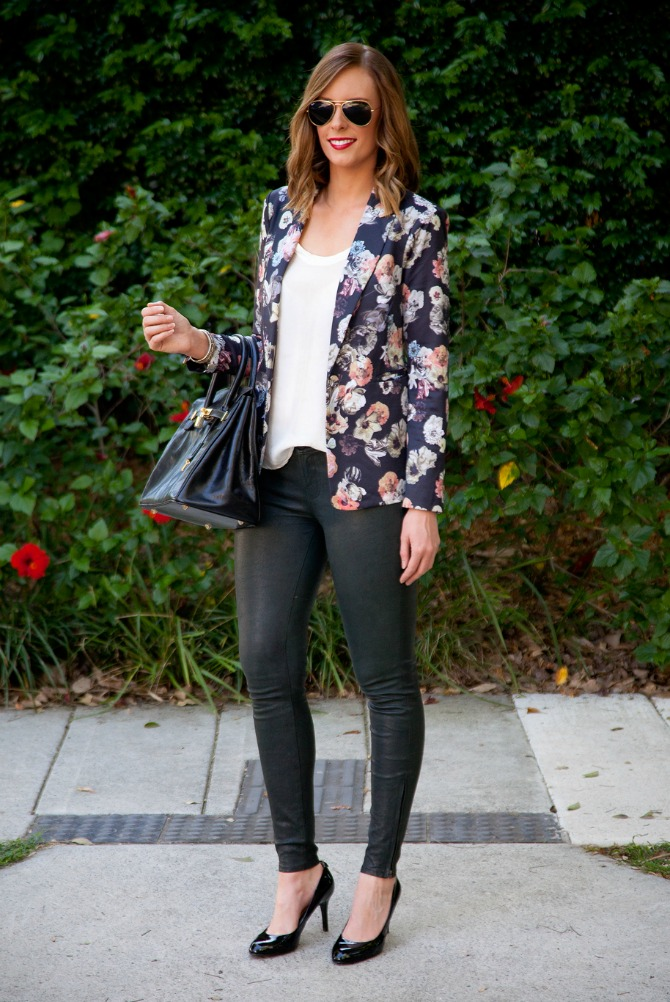 Spring Style - Floral and Leather Fashion Blog Style Elixir www.stylelixir.com Blogger Trends J Brand Leather Pants Floral Blazer Jacket Ray Ban Sunglasses YSL Rouge Pur Couture Kourtney Kardashians Favorite Red Lipstick Michael Kors Heels Black Patent Birkin Handbag
