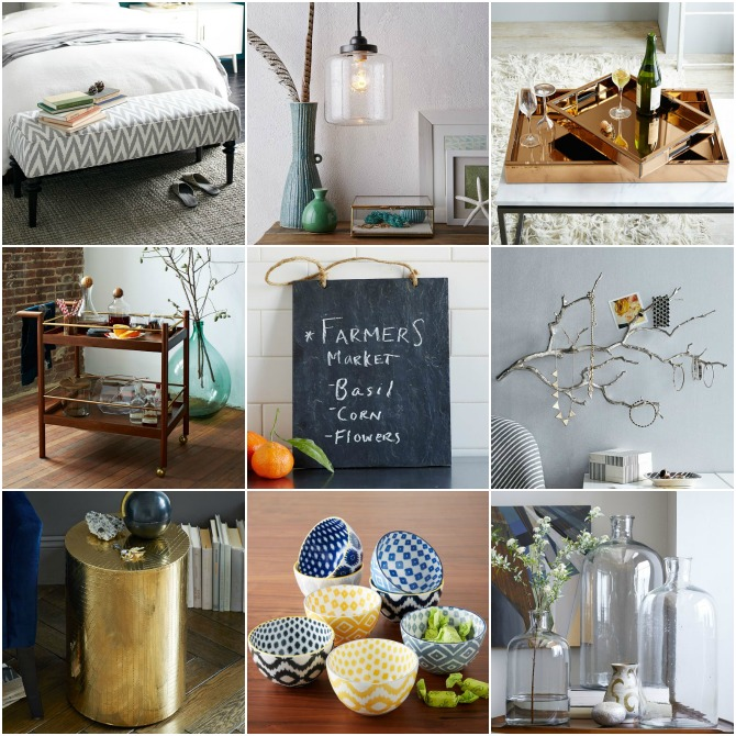 West Elm Home decor gift card giveaway win bar cart mirrored tray gold side table barrel slate note board jewelry tree wall apothecary bottles ikat dinnerware bowls jar pendant lamp light