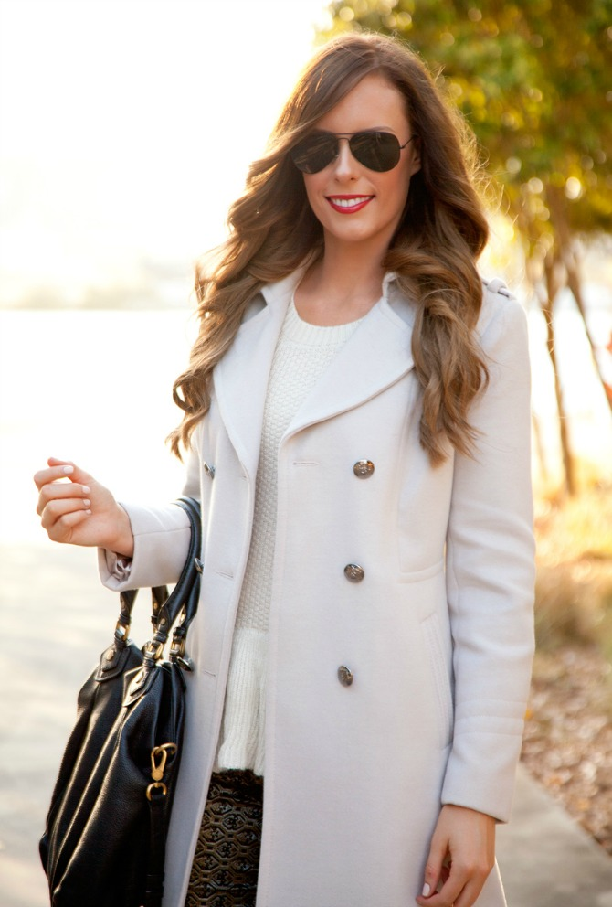 feminine winter coat cream ivory color jacket printed crop pants banana republic fashion blogger lauren slade style elixir what to wear at new york fashion week outfit