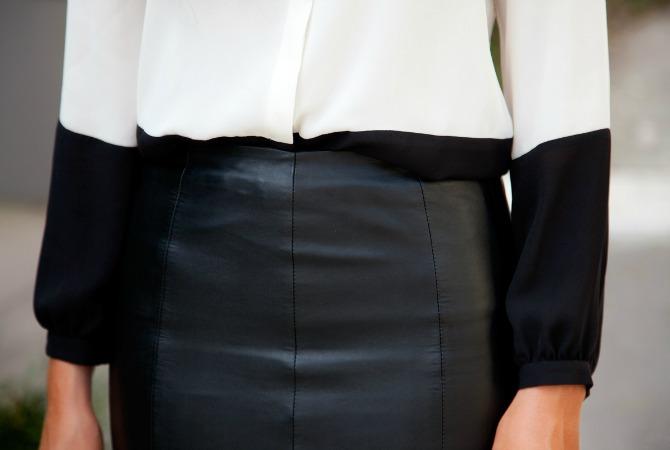 Black leather skirt monochrome black and white color block blouse marc jacobs handbag fashion blogger style elixir www.stylelixir.com lauren slade blog