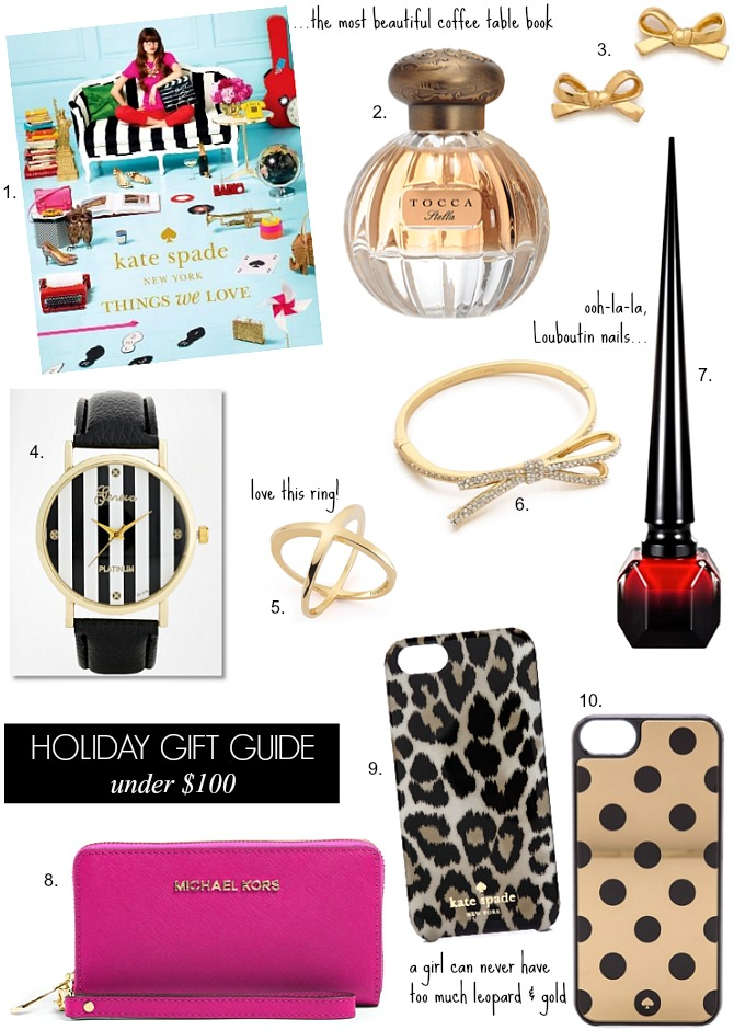 Holiday Gift Guide For Her Under $100 sister friend mother girlfriend christmas gift ideas kate spade louboutin nail polish perfume bow watch stripes michael kors leopard gold polka dots iphone case kate spade