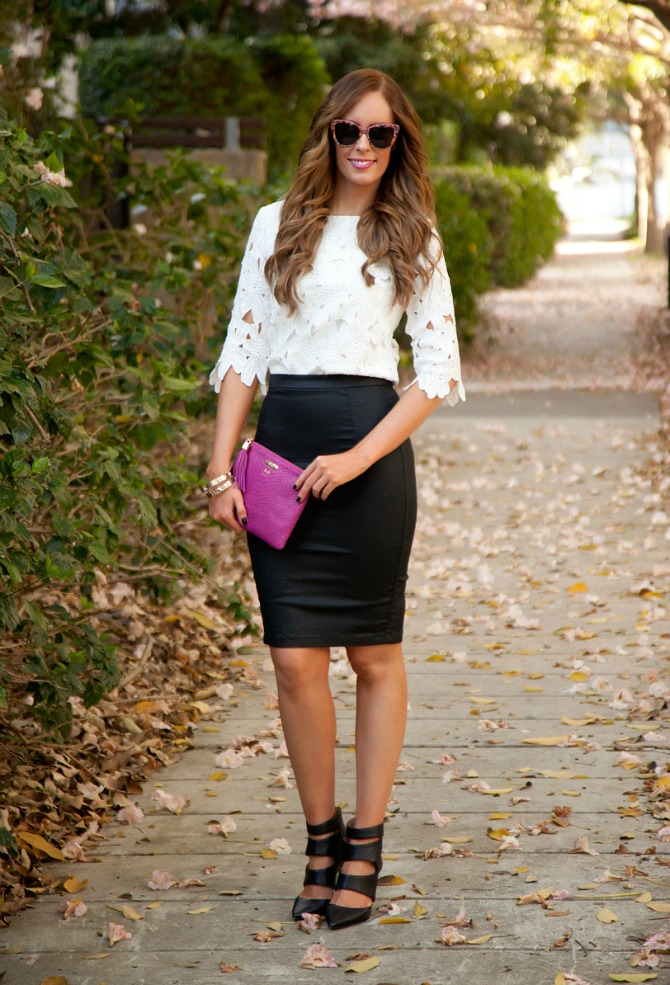 outfits for fall cute fall outfits monochrome black and white radiant orchid clutch leather black pencil skirt lace top bellami hair extensions ash brown black cage booties fashion blogger style elixir blog www.stylelixir.com lauren slade
