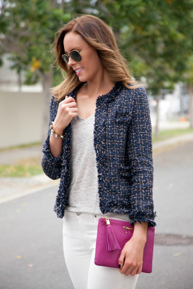 outfits for fall cute fall outfits fashion blogger tweet jacket navy white jeans j.crew radiant orchid clutch style elixir fashion blog www.stylelixir.com blogger lauren slade
