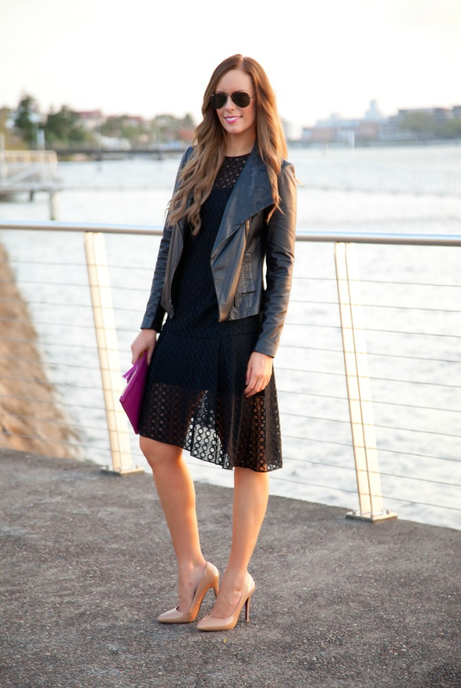 New Years Dresses Black leather jacket vince scuba jacket fashion blogger style elixir lauren slade www.stylelixir.com black on black outfit inspiration lace dress