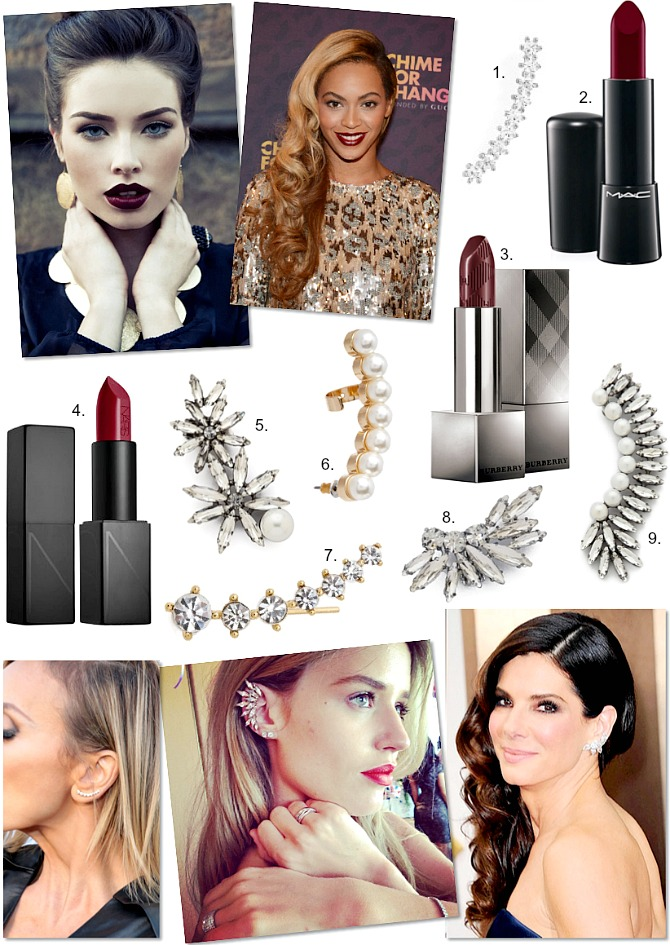 Oxblood Lipstick and Ear Crawler Cuff Fashion Trends Winter Fall Celebrity Style NARS lipstick M.A.C Lipstick Burberry Lipstick Shopbop earrings style elixir blog usa blogger www.stylelixir.com