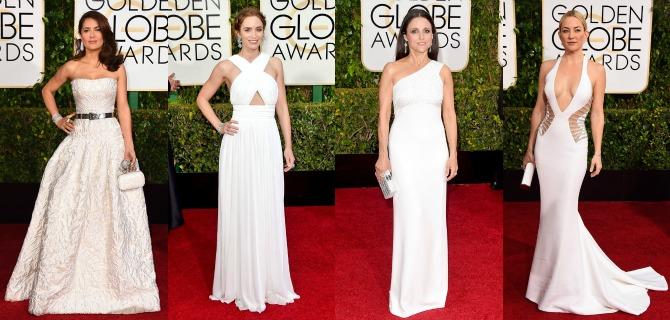 White Dresses Golden Globes red carpet fashion 2015 kate hudson salma hayek emily blunt dress