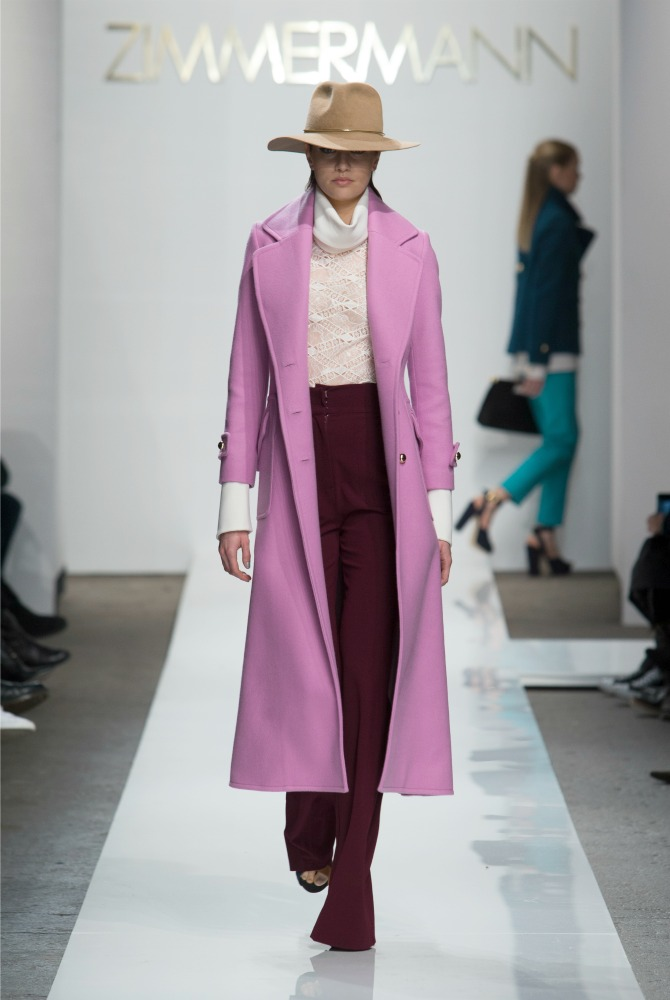 Zimmermann Fall 2015 collection new york fashion week show NYFW long pink coat style elixir fashion blog olivia palermo style