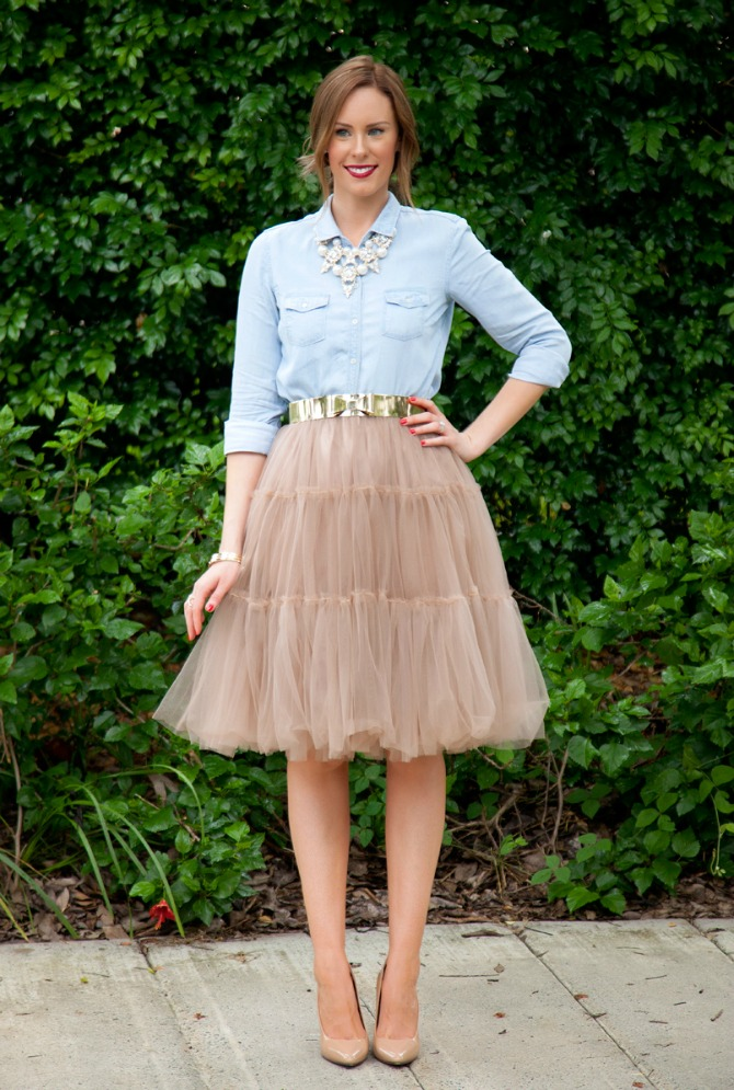 Mixing High and Low fashion How To Style A Tulle Skirt and Chambray lauren slade style elixir top fashion blog