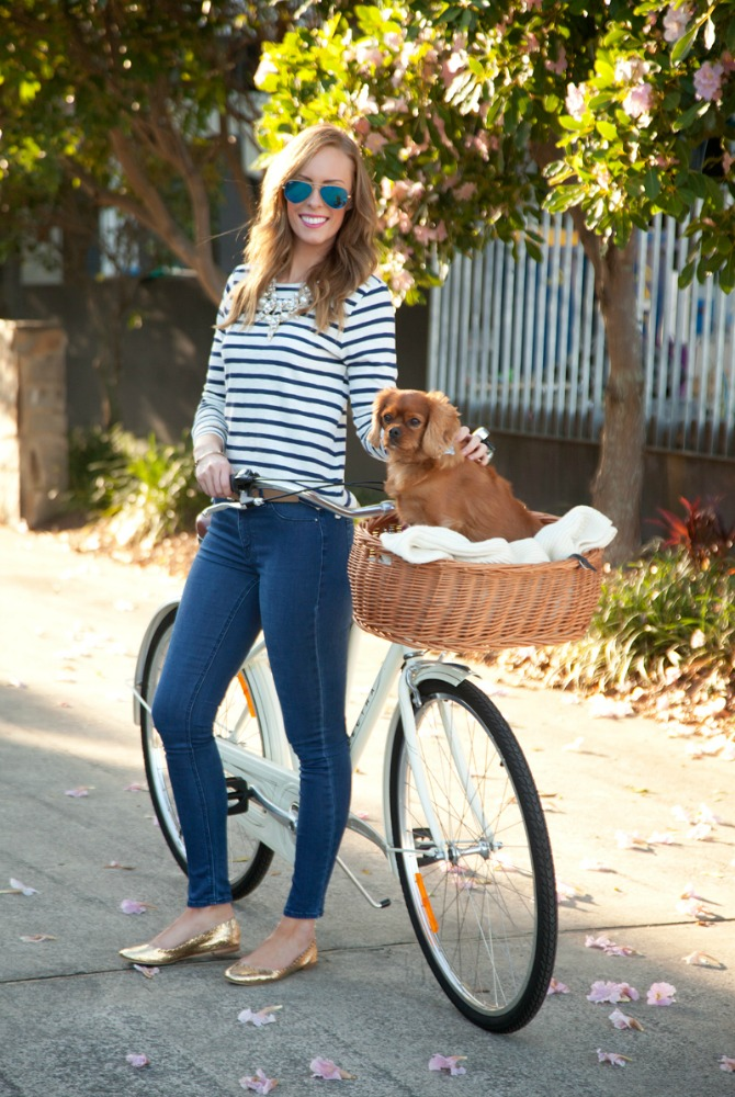 2 J.Crew Stripe top girl on electra bike cavoodle dog in bike basket loeffler randall gold ballet flats blue mirrored ray ban aviator sunglasses style elixir fashion blogger