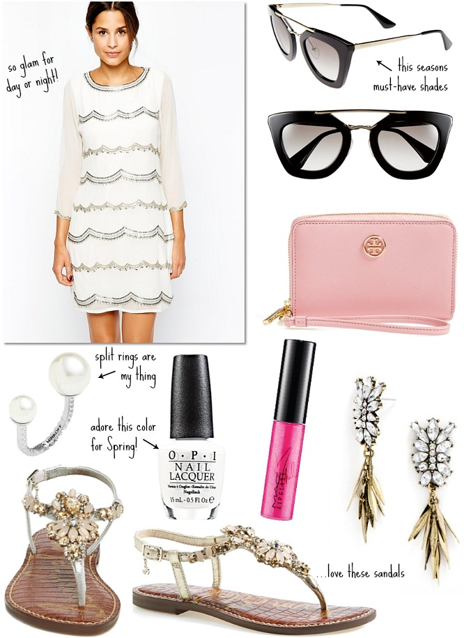 Glam spring outfit ideas dior sunglasses asos white dress tory burch clutch split ring fashion blogger style elixir blog