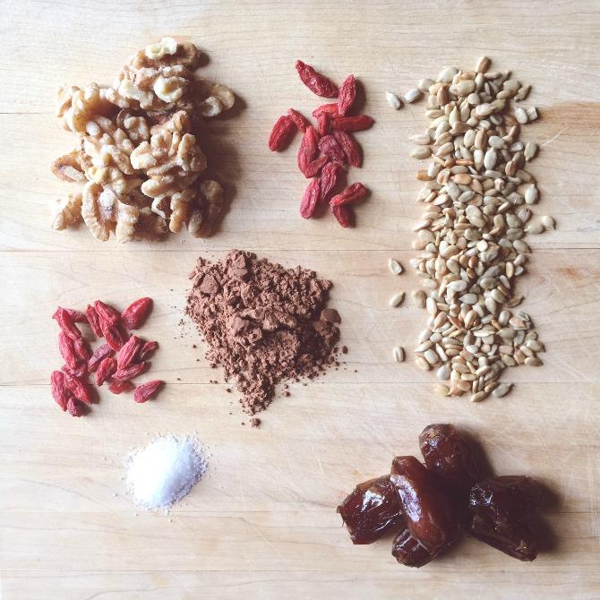 Raw food recipe ingredients chocolate truffle balls