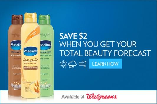 Vaseline Moisturizer Spray review Walgreens coupon