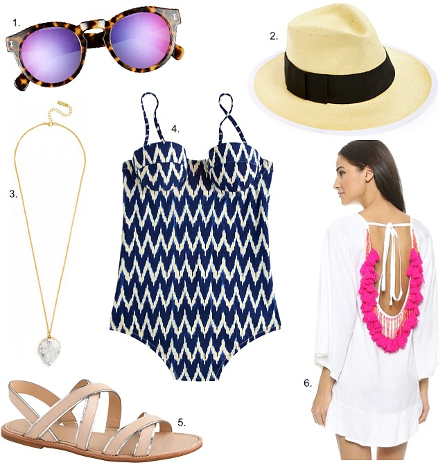 What to pack for summer vacation j.crew ikat swimsuit panama hat mirror sunglasses