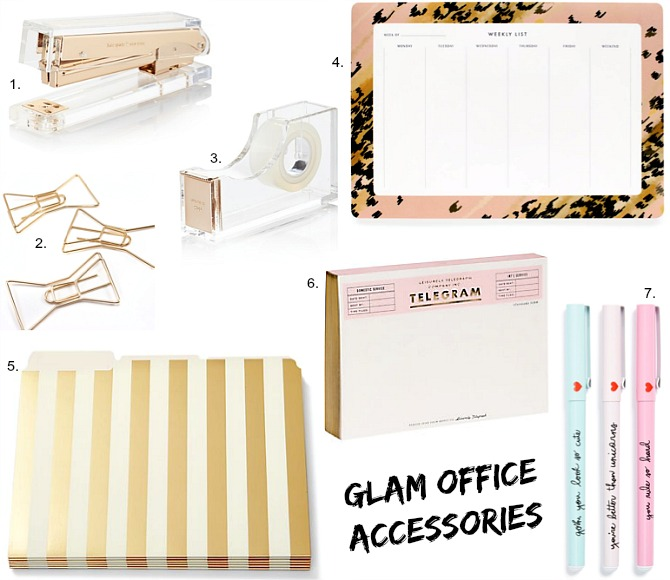 Office Accessories Kate Spade Gold Stripe Folders Leopard desk calendar rifle paper co acrylic stapler tape bow paper clips