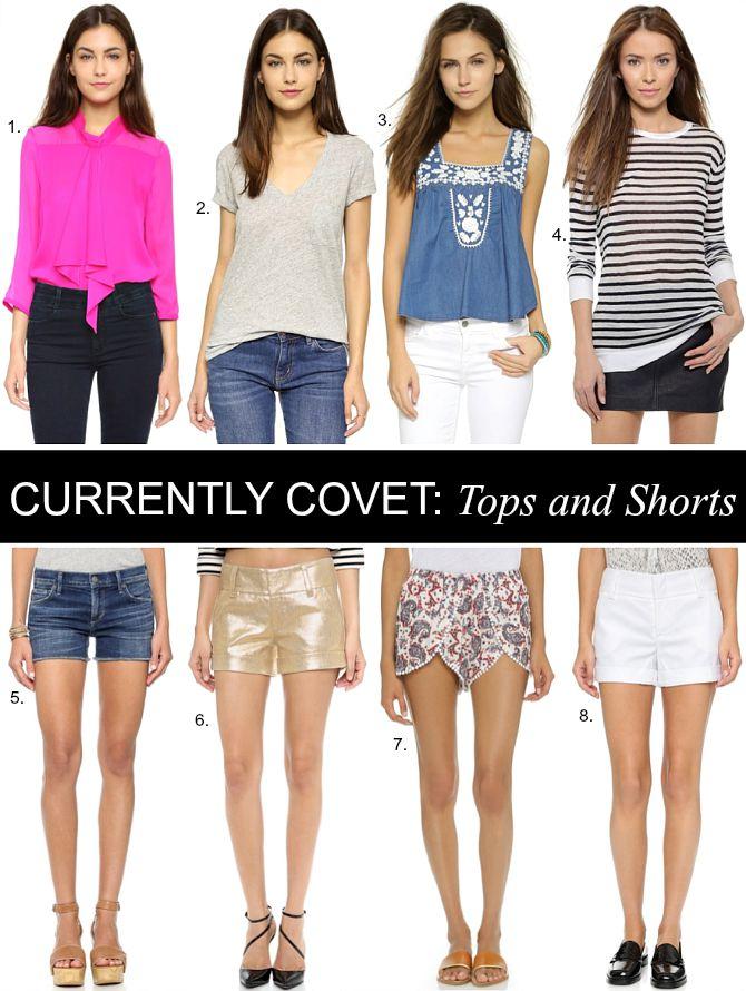 Shopbop sale shorts and tops stripe top gold metallic shorts white shorts bright pink blouse shirt