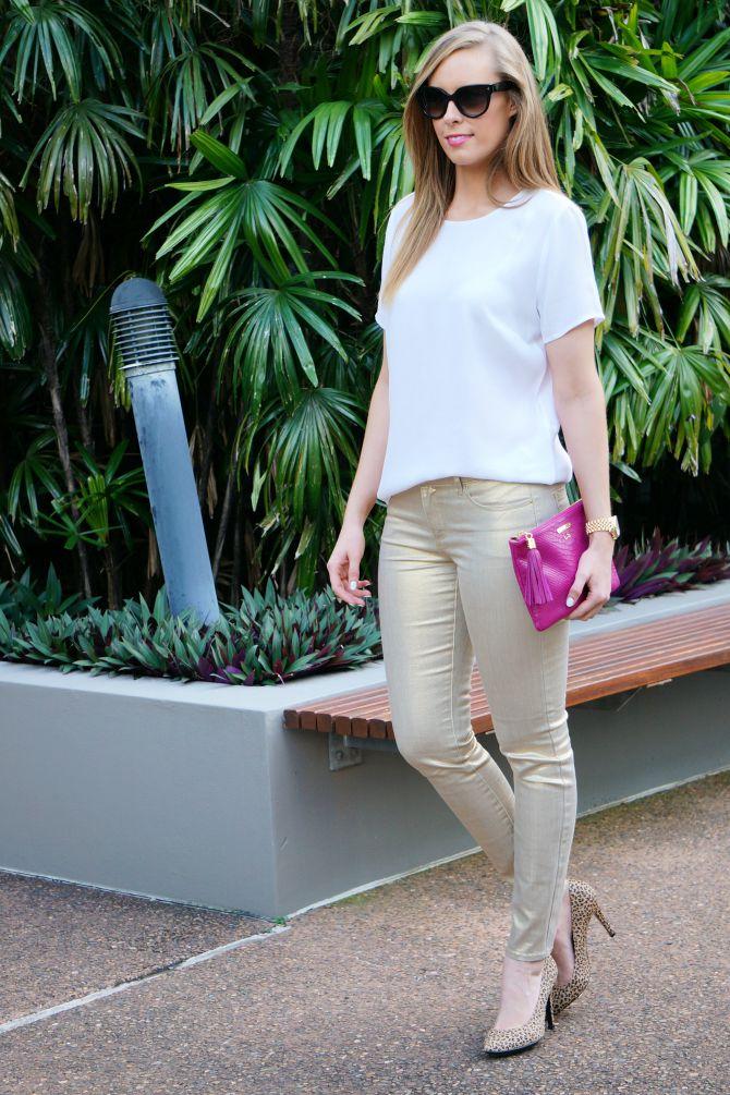 gold metallic jeans gigi new york monogram clutch prada sunglasses lauren slade style elixir blog new york blogger