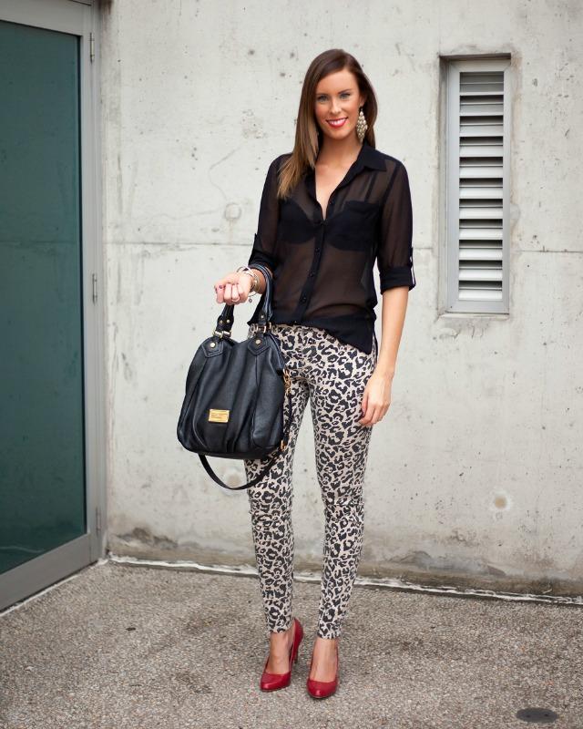 Leopard Pants jeans red patent heels black sheer blouse marc jacobs fran bag lauren slade style elixir fashion blog new york blogger