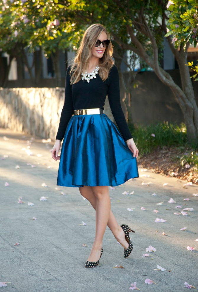 Bloggers Closet Cobalt Blue Flare Skirt sale lauren slade style elixir blog new york blogger shop my closet