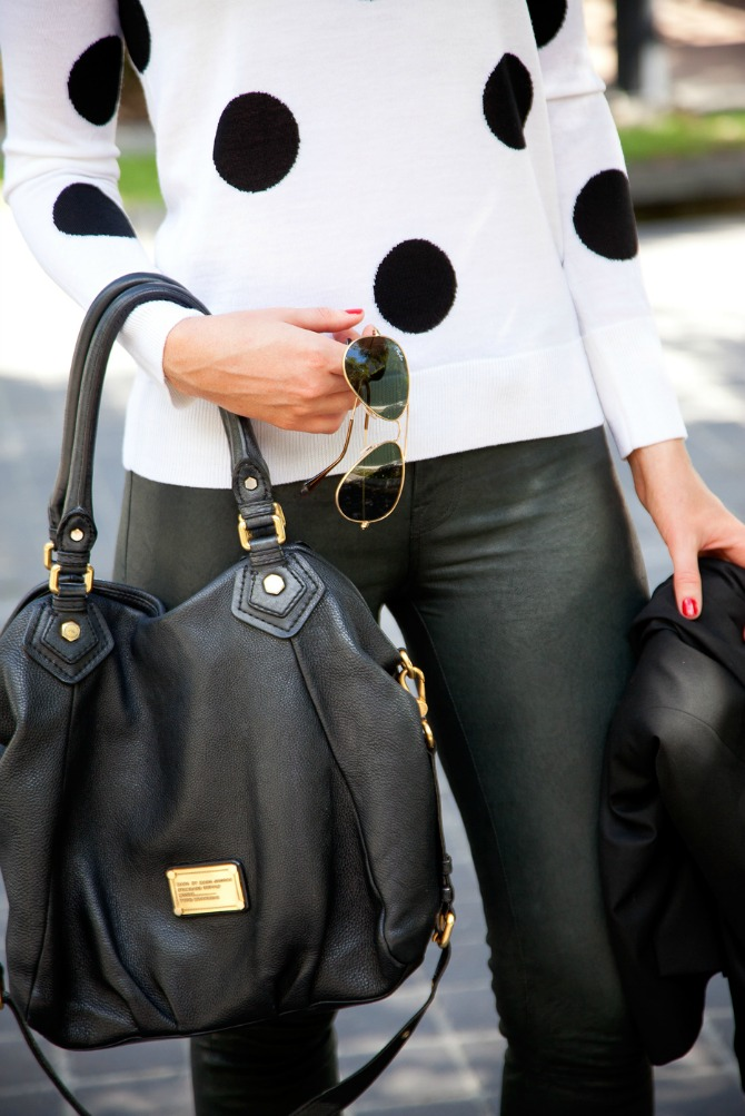 J Brand Leather Pants Equipment Sweater Cashmere Polka Dot sweater weather style elixir blog lauren slade fashion blogger new york marc jacobs fran bag ray ban aviators