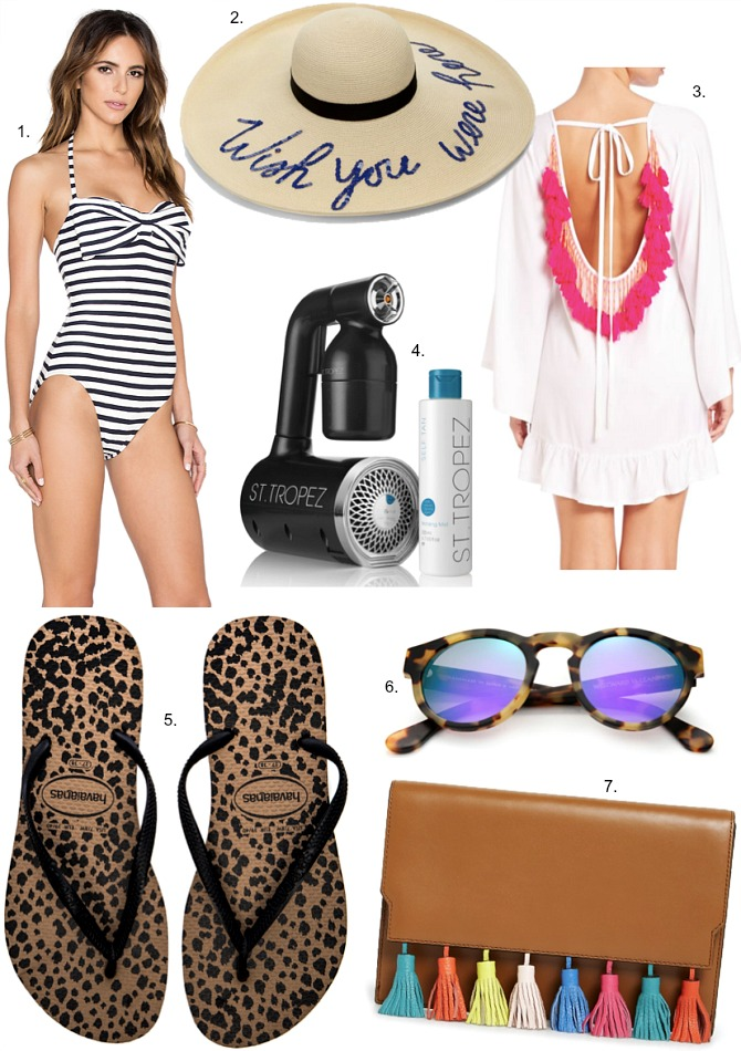 Kate Spade Stripe Swimsuit Eugenia Kim WIsh You Were Here Hat Alaia Sundress rose gold and leopard flip flops rebecca minkoff tassel clutch westward leaning mirrored sunglasses cute swimwear