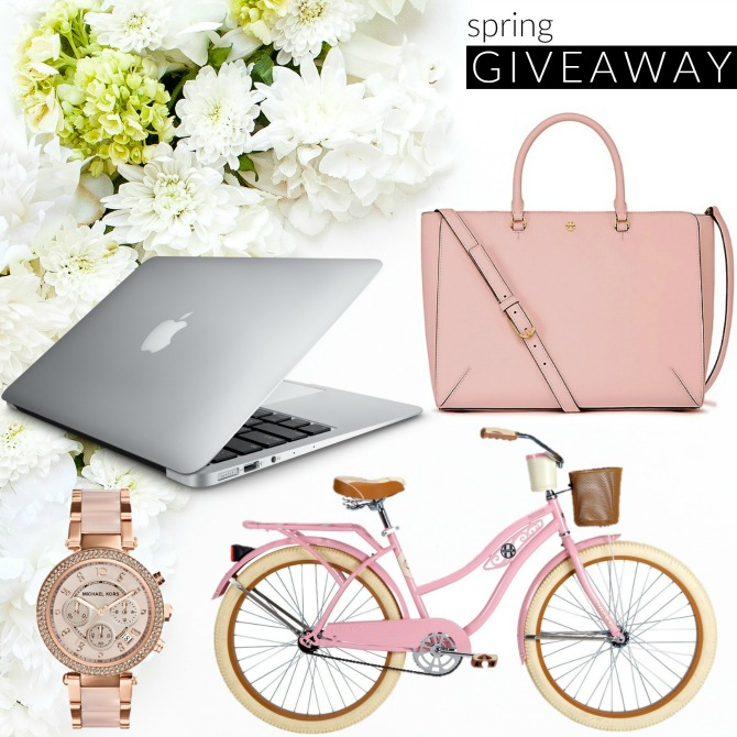 Instagram Giveaway MacBook Air Tory Burch Robinson Tote Blush Pink Cruiser Bike Michael Kors Parker Watch win spring giveaway prize blog