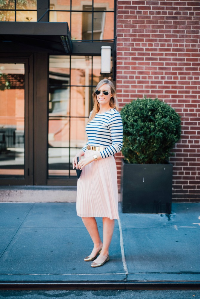 blush-knife-pleat-midi-skirt-with-stripe-top-lauren-slade-gold-metallic-ballet-flats-loefler-randall-new-york-fashion-blogger-style-elixir-blog-outfit-ideas-best-pinterest-fashion-everyday-outfit-ideas