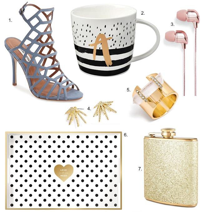 party-season-gold-gift-ideas-polka-dot-stripe-monogram-mug-gold-glitter-flask-steve-madden-slither-grey-heels