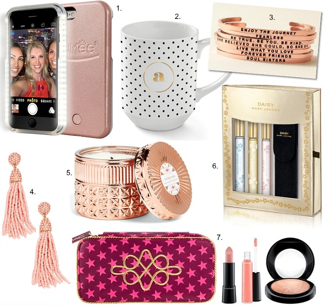 christmas-gifts-under-60-lumee-iphone-case-daisy-marc-jacobs-gift-set-monogram-polka-dot-mug-gold-candle-tassel-earrings-blush