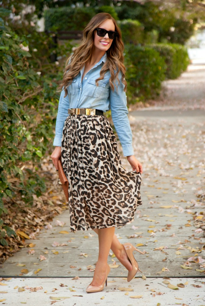 four ways to wear chambray with leopard midi skirt and nude heels with bellami hair extensions and celine original sunglasses