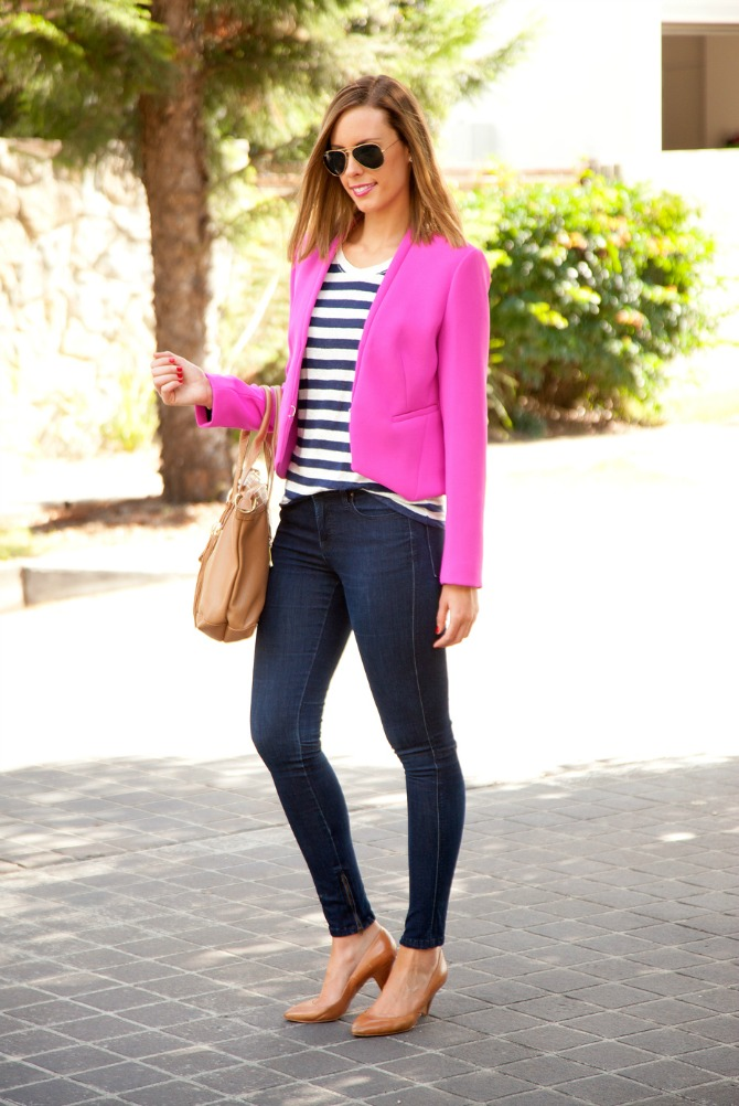 three ways to wear stripes with equipment stripe tee shirt with bright pink dvf blazer ad skinny jeans