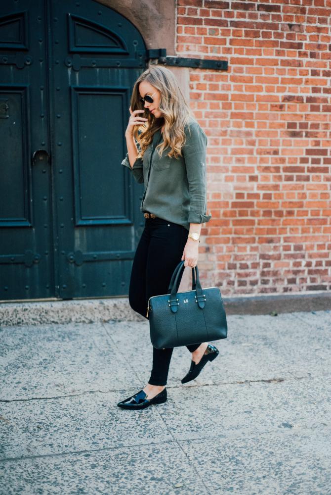 military style olive shirt with black jeans and black patent point derek lam shoes gigi new york monogram handbag fashion in soho new york