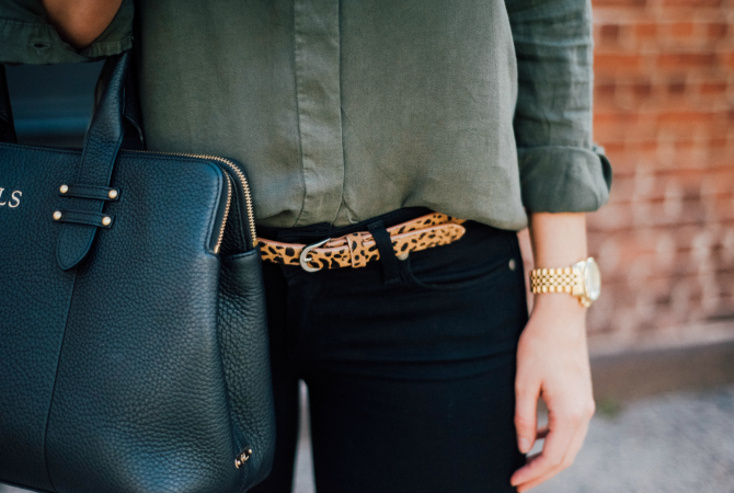 military style shirt with black jeans and leopard belt with black patent point derek lam shoes and gigi new york monogram handbag