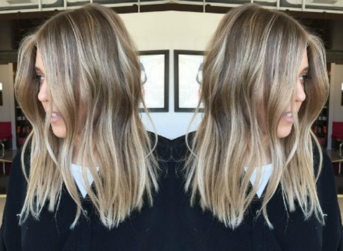 dirty blonde balayage hair color ash blonde golden blonde icy highlights beach blunt lob haircut