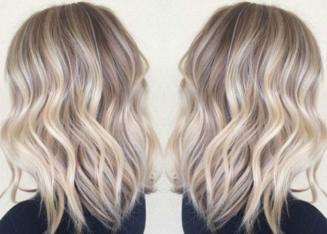 crystal blonde balayage hair color ash blonde golden blonde icy highlights beach blunt lob haircut