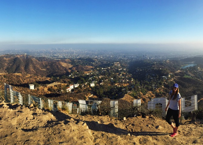 hollywood sign hike runyon canyon LA hikes wear it to heart yoga pants
