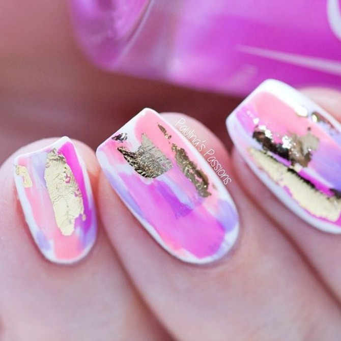 fuchsia pink purple and gold nail art white base spring manicure ideas