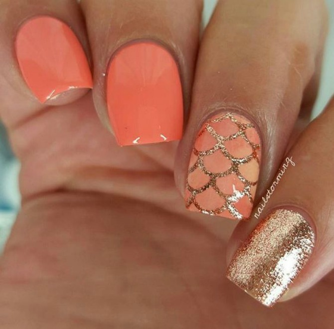 nailstorming mermaid manicure coral and gold nail art