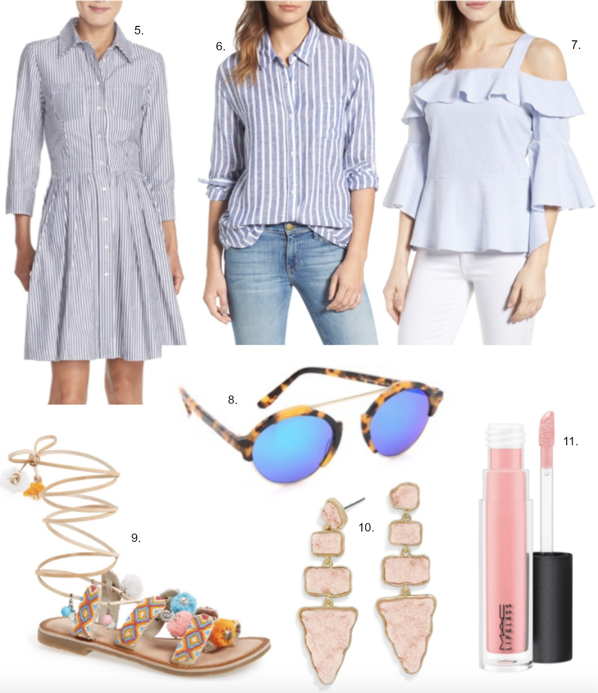spring dresses eliza j stripe dress ruffle top rails stripe linen shirt chinese laundry embellished sandals bauble bar oracle drop earrings