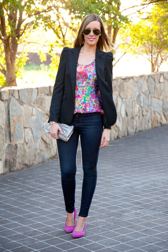 How To Wear Bright Colors style sessions lauren slade style elixir fashion blog bright pink heels silk floral top