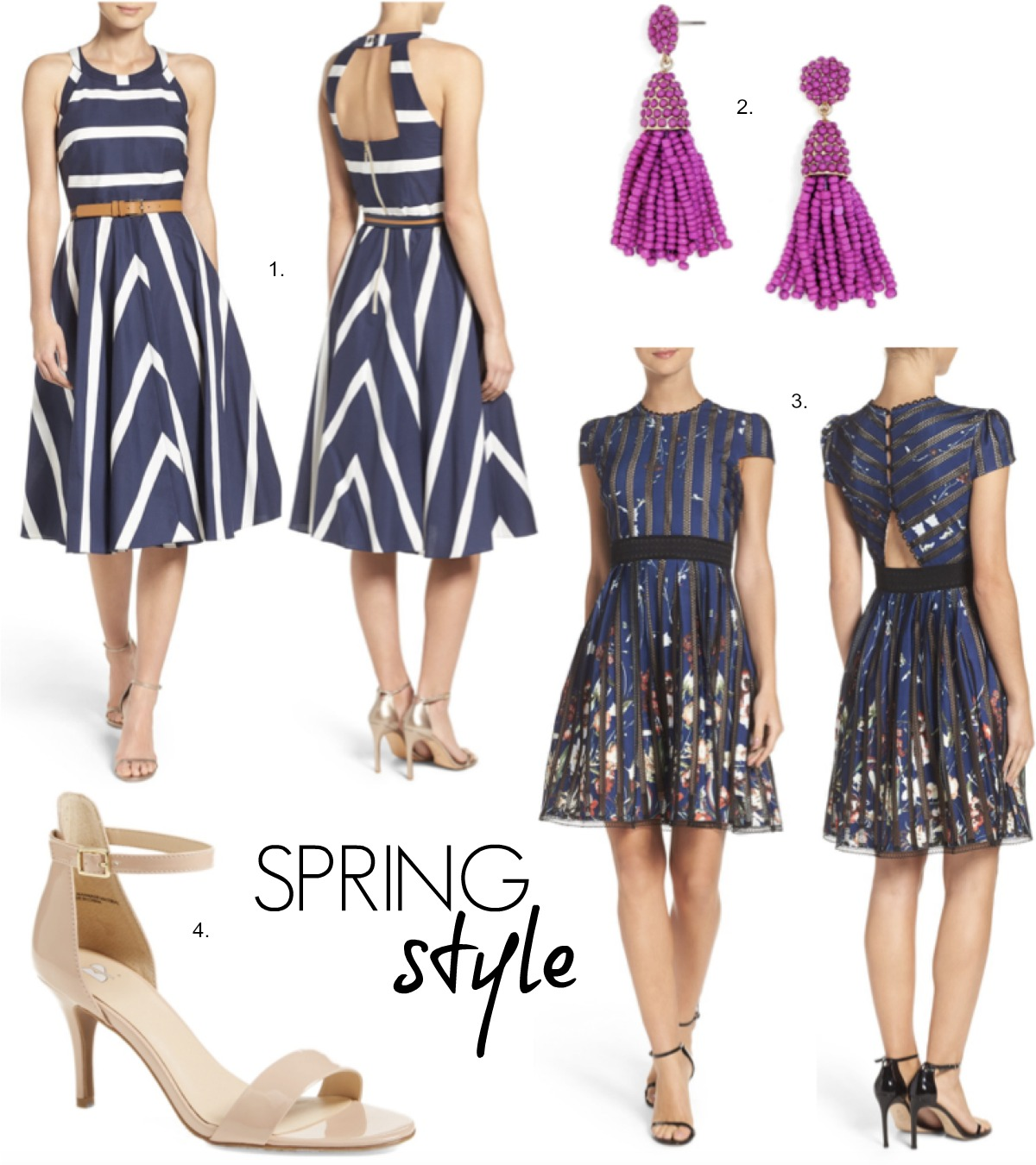 stripe Spring dresses and nude sandals fashion trends best tassel earrings baublebar