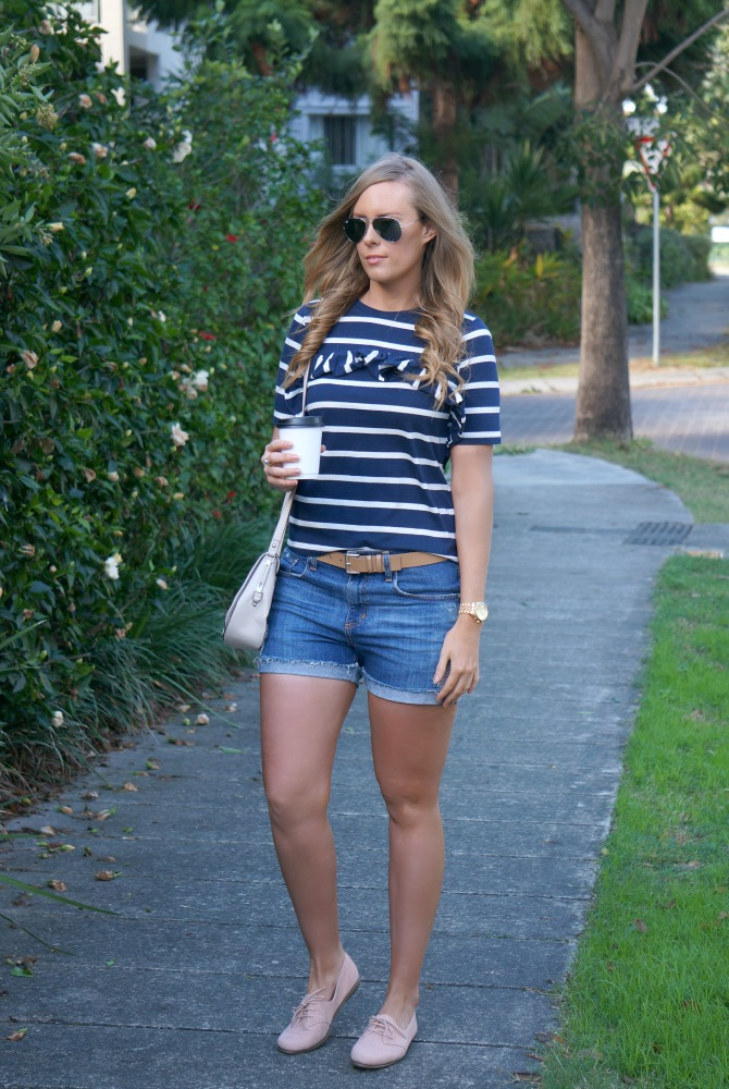 navy and white stripe tee and denim shorts summer outfit ideas lauren slade style elixir los angeles fashion blogger 2