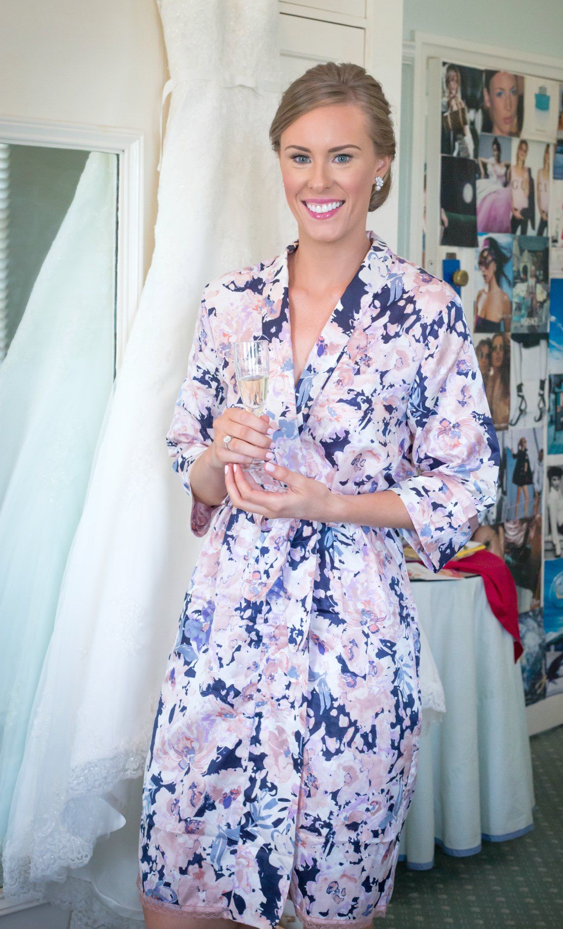 papinelle floral bridesmaid robes bride getting ready with champagne