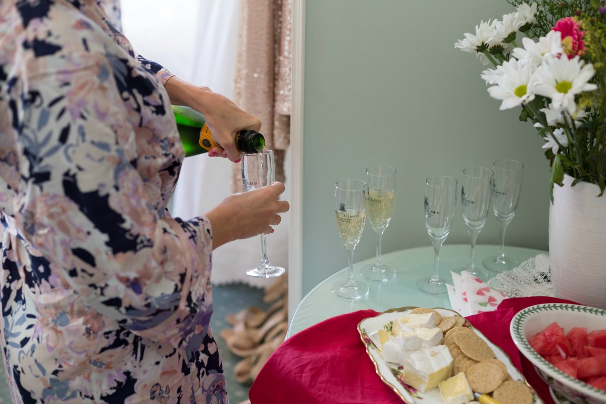 papinelle floral bridesmaid robes champagne