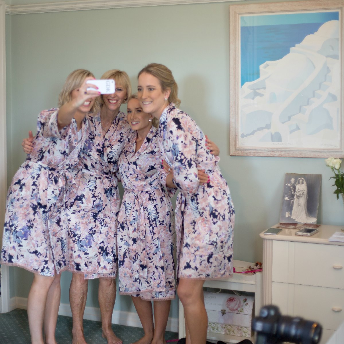 papinelle floral bridesmaid robes group bridal party getting ready photo