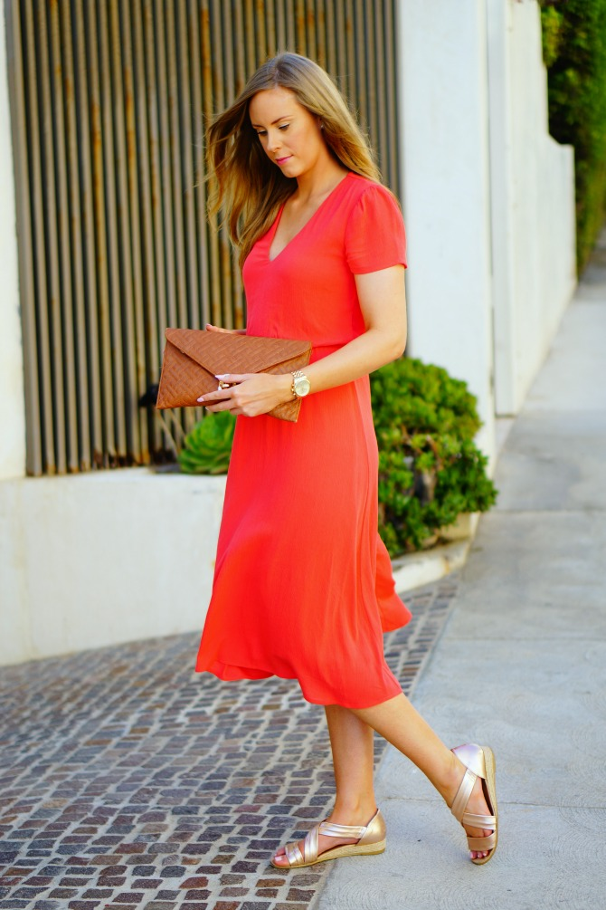 best summer dresses wayf blouson midi dress coral-los-angeles-blogger-lauren-slade-santa-monica-sunset-style-elixir-fashion-blog